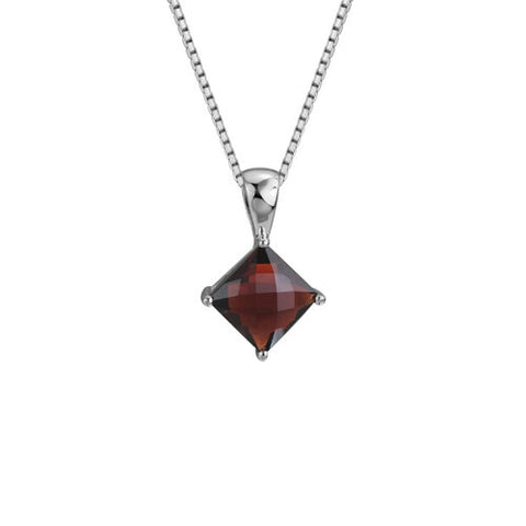 Garnet In Sterling Pendant