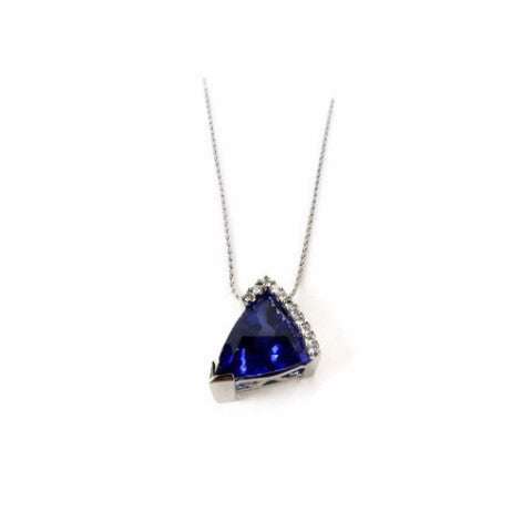 Triangular Tanzanite Pendant in White Gold with Diamond Accent by Dwaine Ferguson