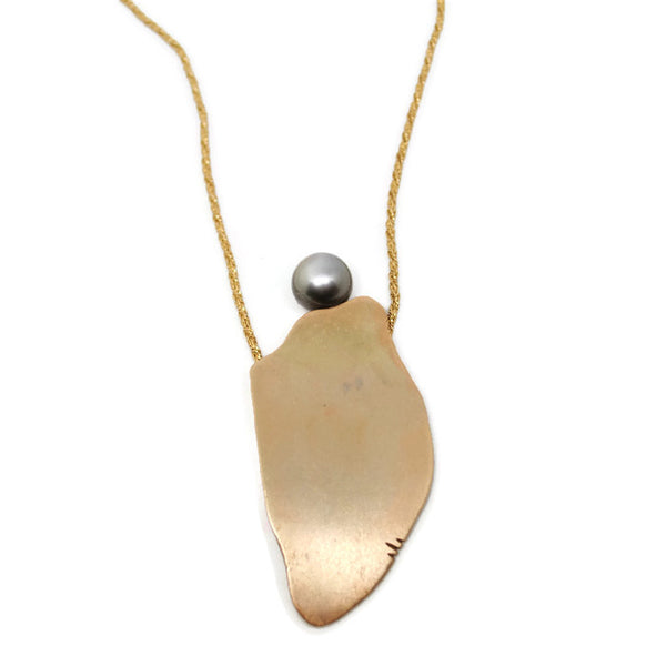 Tahitian Pearl and Recycled Gold Free Form Pendant by Dwaine Ferguson