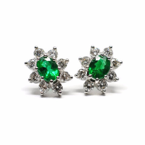 Vintage-Style Emerald Cluster Earrings with Diamond Accents