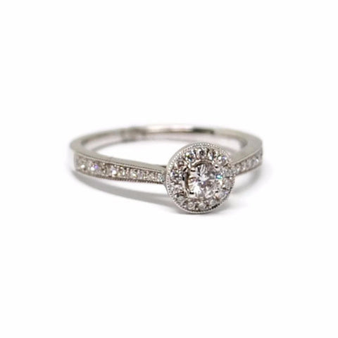 Pave Halo Diamond Engagement Ring in 14k White Gold