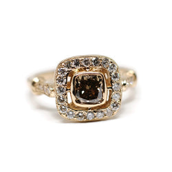 Vintage Inspired Champagne Cushion Cut Engagement Ring with Diamond Halo