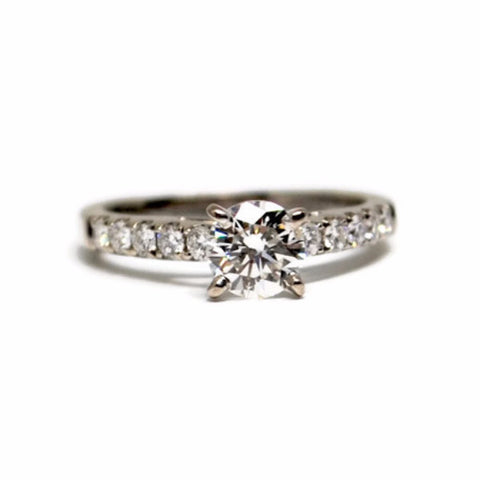 Classic 14k White Gold Diamond Engagement Ring with Side Stones