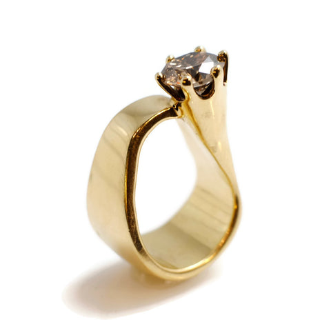 Trumpet Ring with Champagne Diamond by Dwaine Ferguson