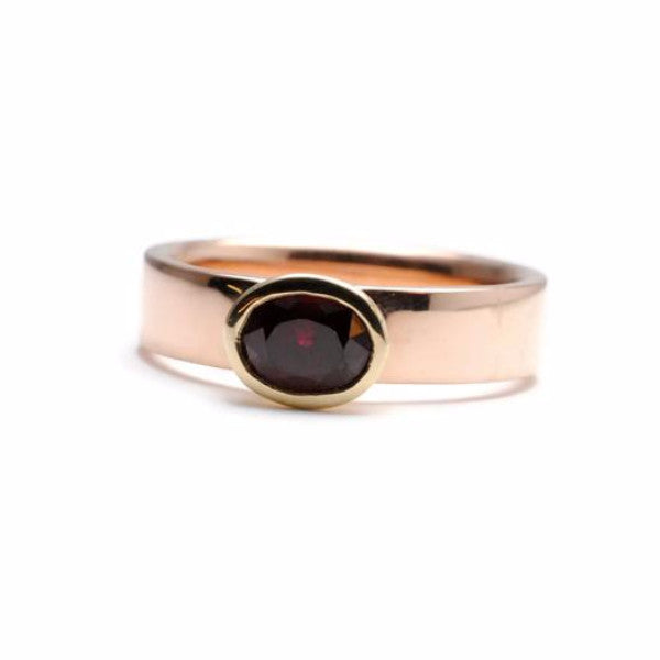 Bezel Set Oval Ruby with Yellow Gold Bezel and Rose Gold Band