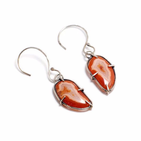 Orange & Red Agate Wire Prong Earrings by Cassie Leaders