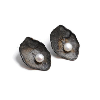 Oxidized Sterling Silver Oyster Shell with Pearl Earrings