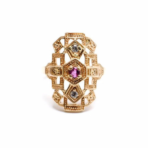 Art Deco Inspired Ring with Ruby and Diamonds
