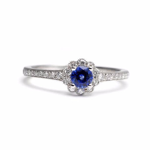 Blue Sapphire and Diamond Ring with Scalloped Halo