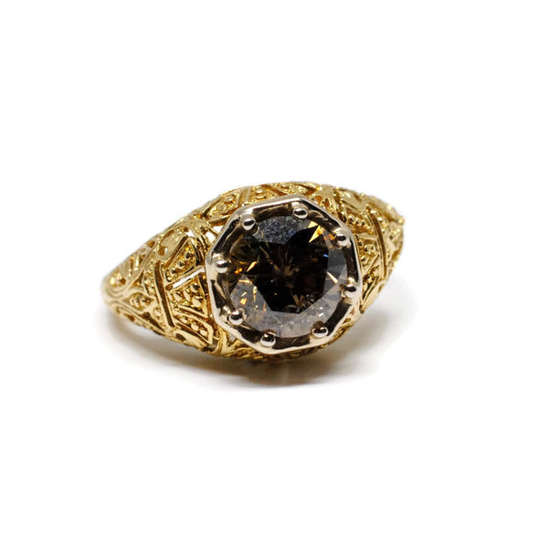 Filigree Ring with Champagne Diamond in 18k Green Gold