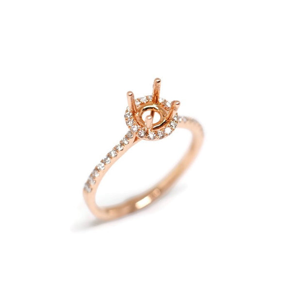 Semi-Set 14k Rose Gold Halo Engagement Ring