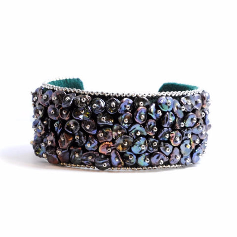 Pearl Embroidered Cuff Bracelet by Sam Taylor