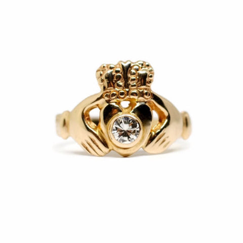 Irish Claddagh Diamond Ring in 14k Yellow Gold