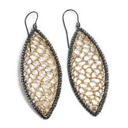 Crocheted Sterling Silver Marquis Earrings