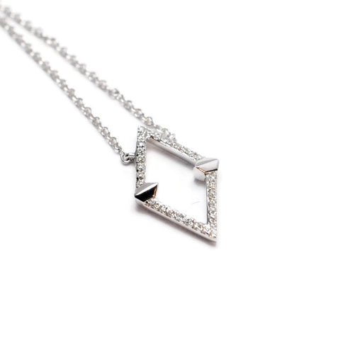 Open Diamond Shape Necklace in 14k White Gold