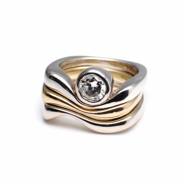 Two Tone Triple Wave Ring with Bezel Set Diamond by Dwaine Ferguson