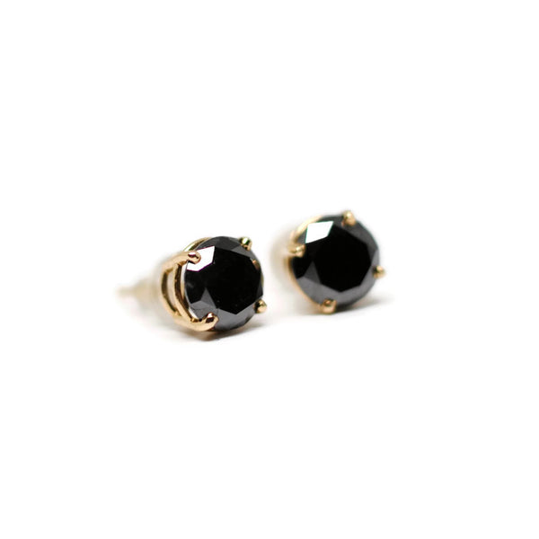 Black Diamond Stud Earrings in 14k Yellow Gold