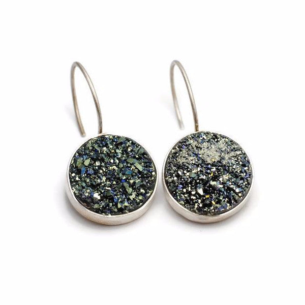 Teal/Green Druzy Bezel Set Earrings by Cassie Leaders