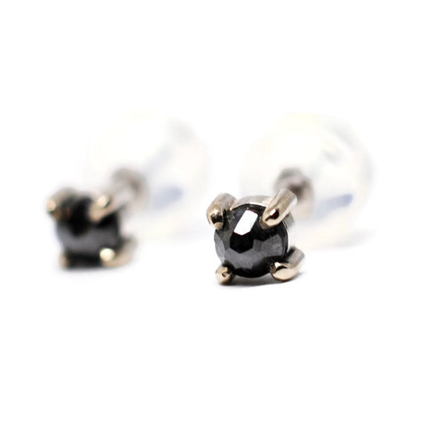 Rose Cut Black Diamond Stud Earrings in 14k White Gold