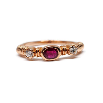 Oval Ruby and Diamond Ring in 14k Rose Gold