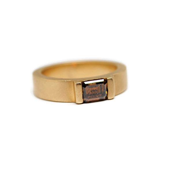 Cognac Emerald Cut Diamond Ring by Dwaine Ferguson