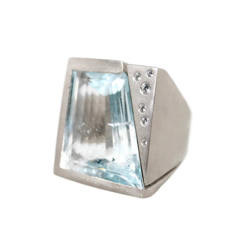 Large Abstract Aquamarine Ring by Hele Spivak