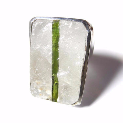 Quartz and Tourmaline Ring