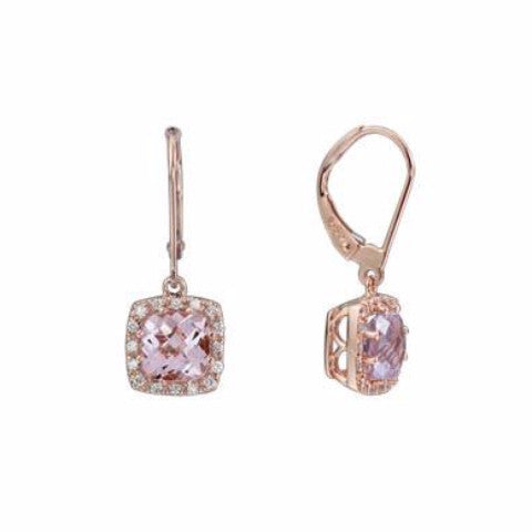 Pink Amethyst Earrings In Rose Gold