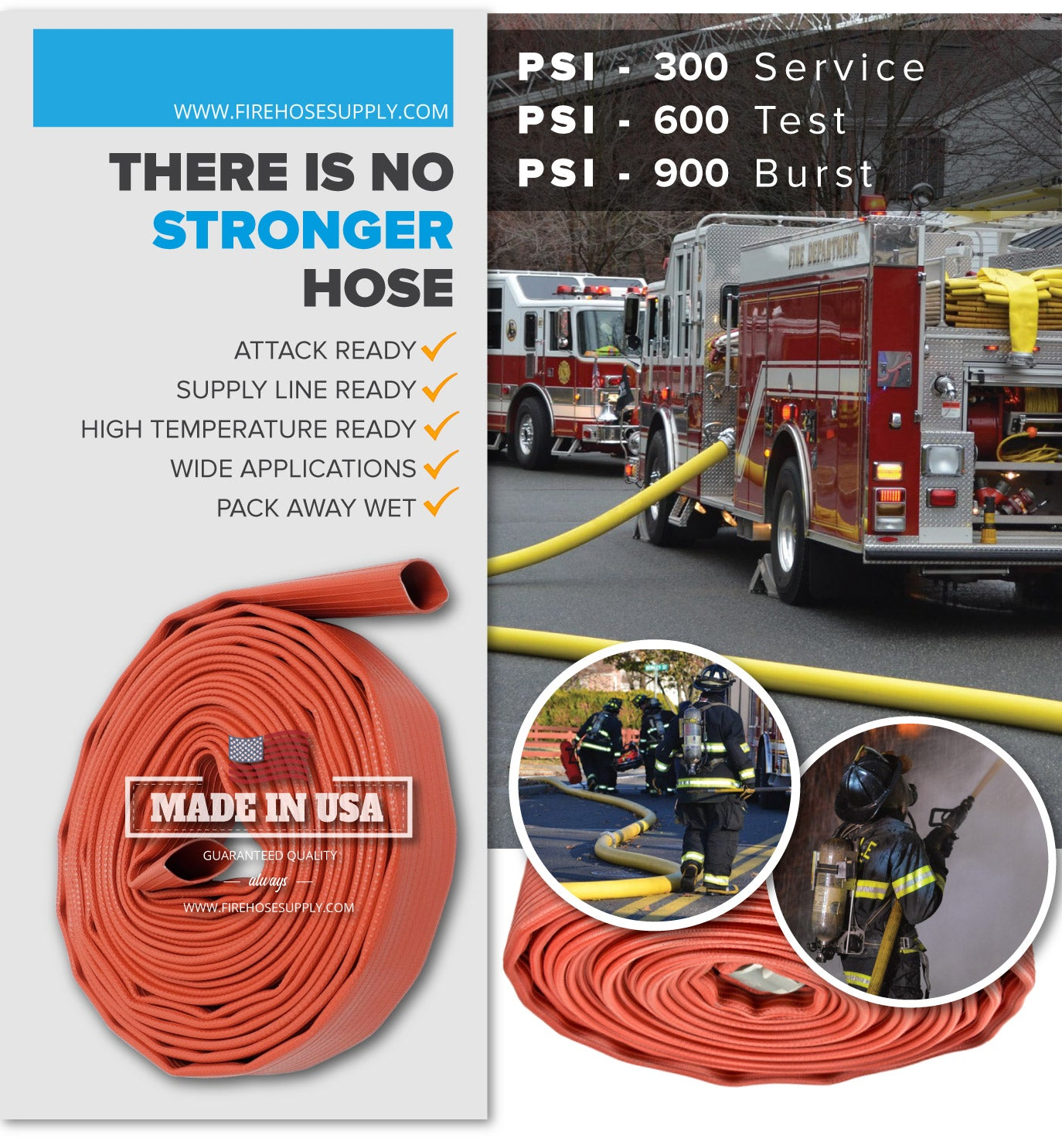 1.5 Inch Rubber Fire Hose Material Only Supply And Attack Ready Firefighter Red 600 PSI Test