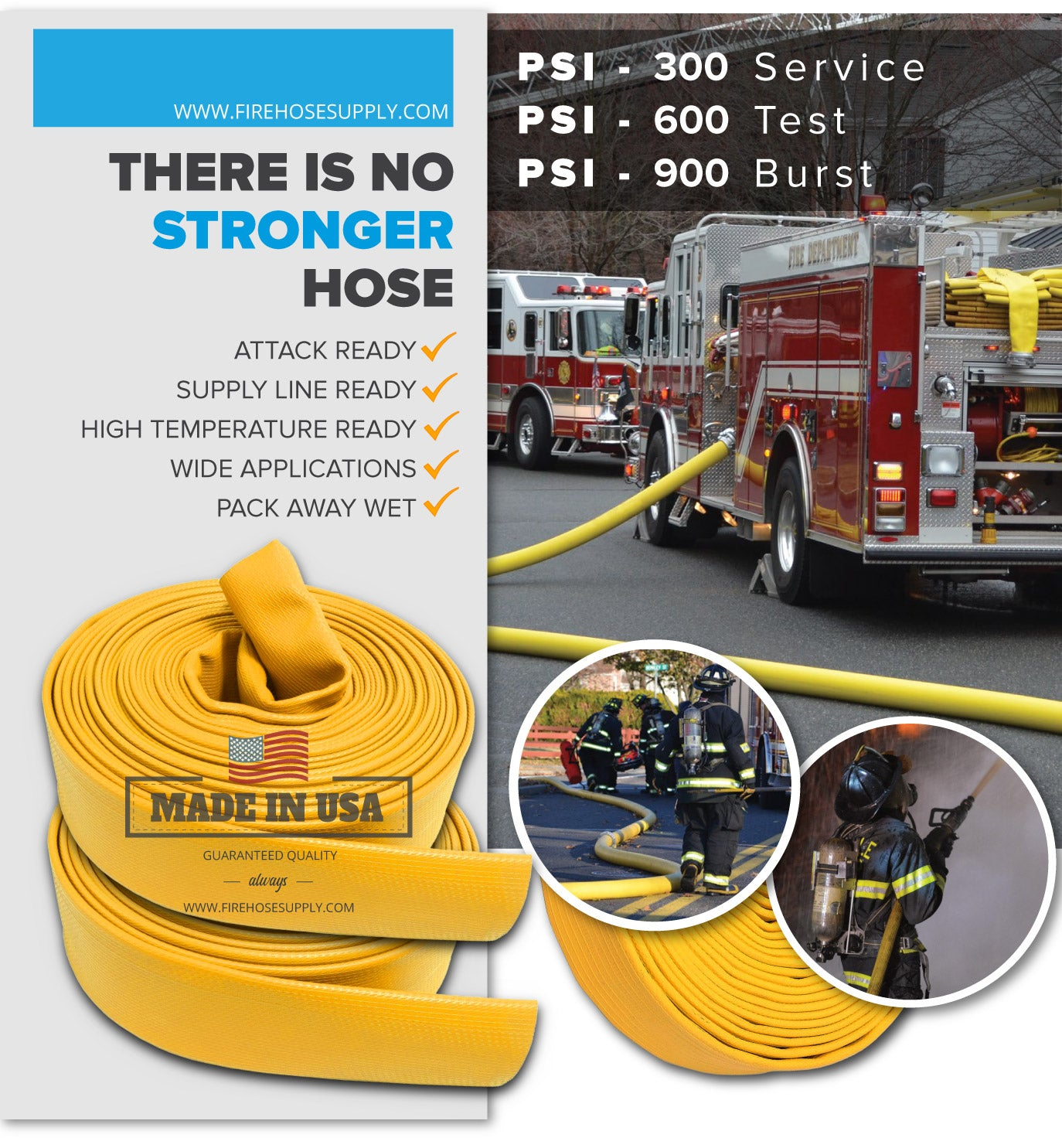 1.5 Inch Rubber Fire Hose Material Only Supply And Attack Ready Firefighter Yellow 600 PSI Test