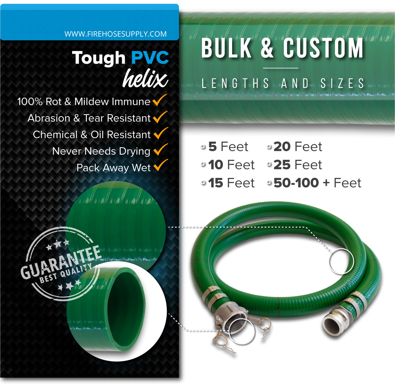 1.5 Inch Camlock Female x Male Green Suction Hose PVC Materials