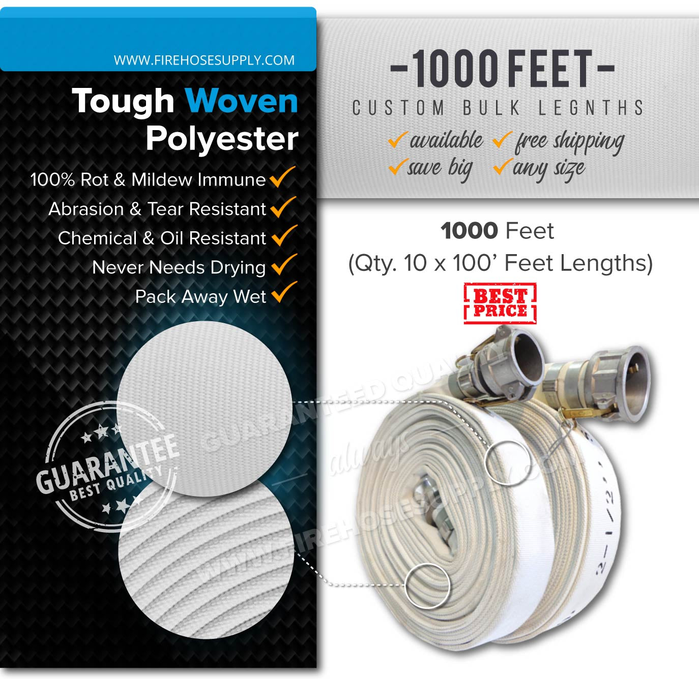 1.5 inch 1000 ( 10 x 100) feet camlock quick connect hose polyester bulk wholesale