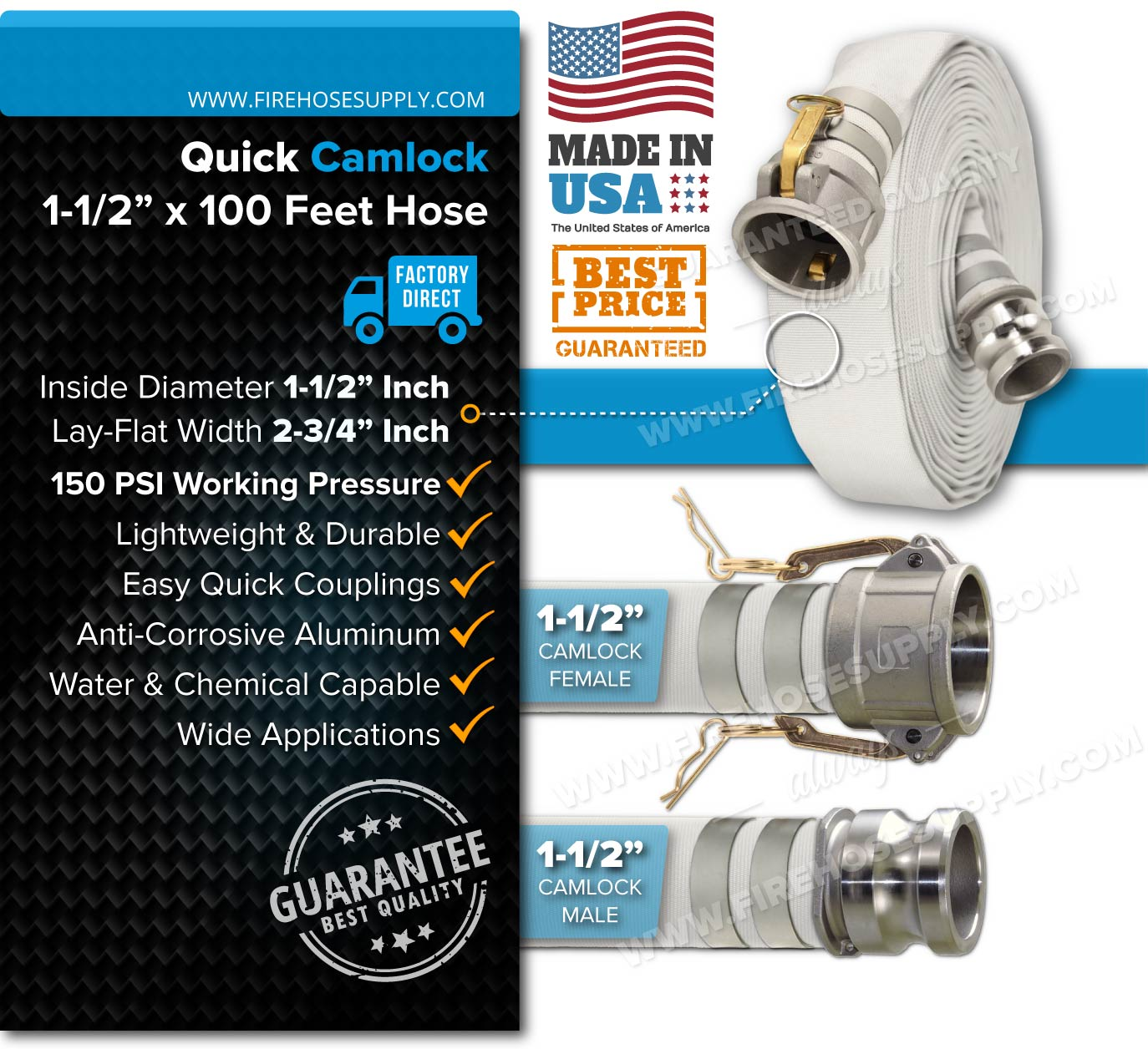 1.5 inch camlock hose woven single layer 100 feet white specifications