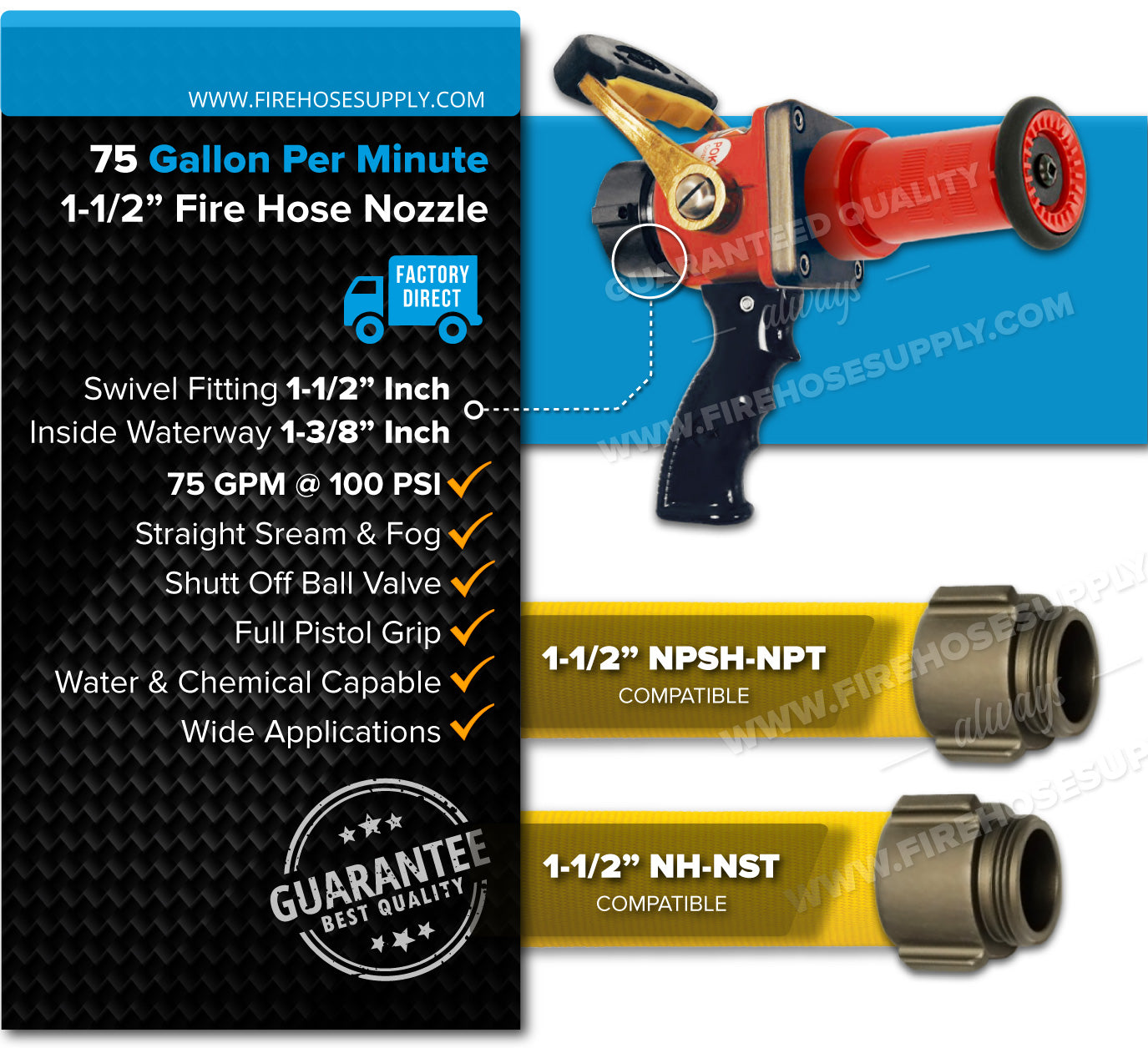 1.5 inch fire hose nozzle Red Pistol Grip