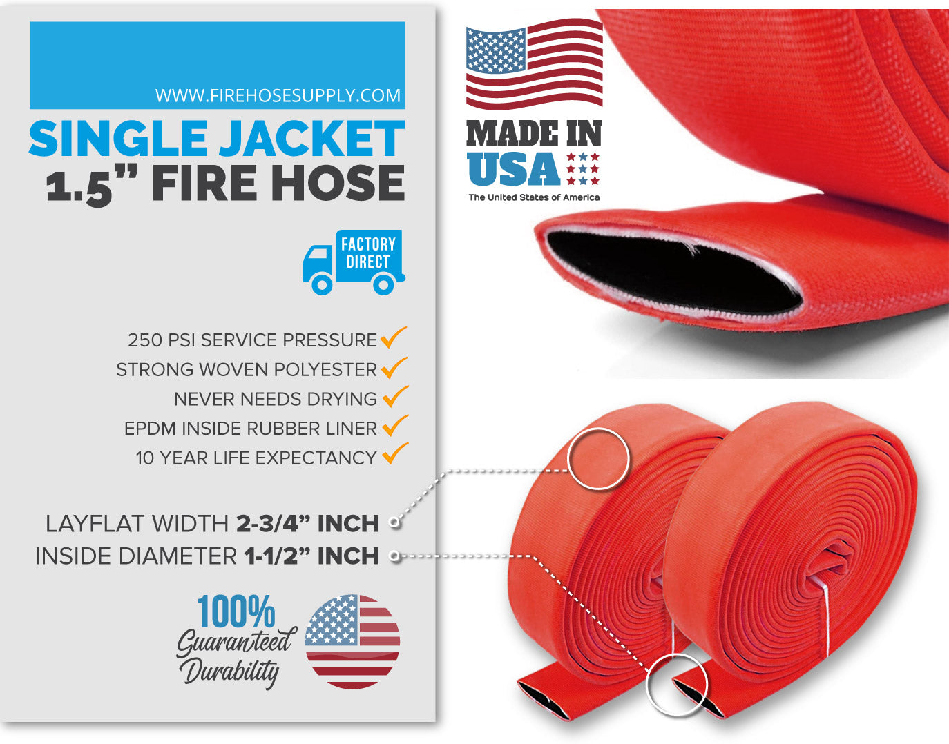 1.5 inch fire hose material red no fittings