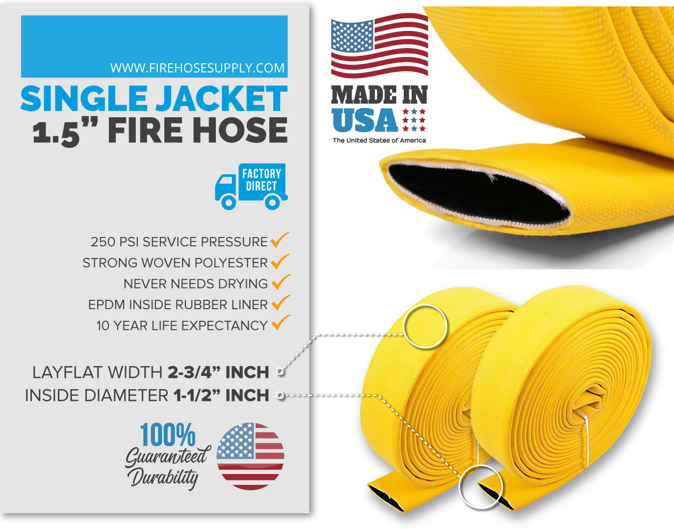 1.5 inch fire hose material yellow no fittings