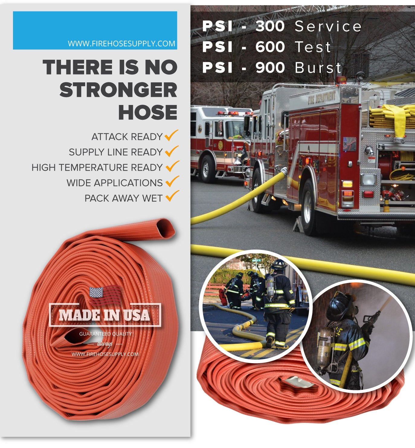 1.75 Inch Rubber Fire Hose Material Only Supply And Attack Ready Firefighter Red 600 PSI Test