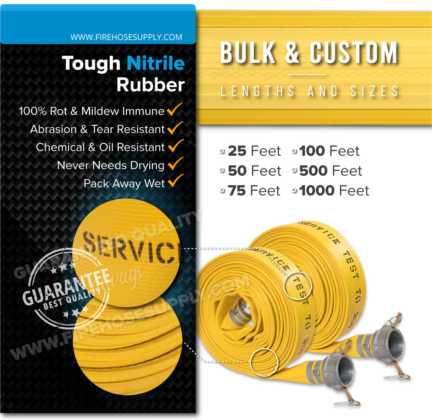 1 Inch Camlock Quick Connect Fire Hose Rubber Materials