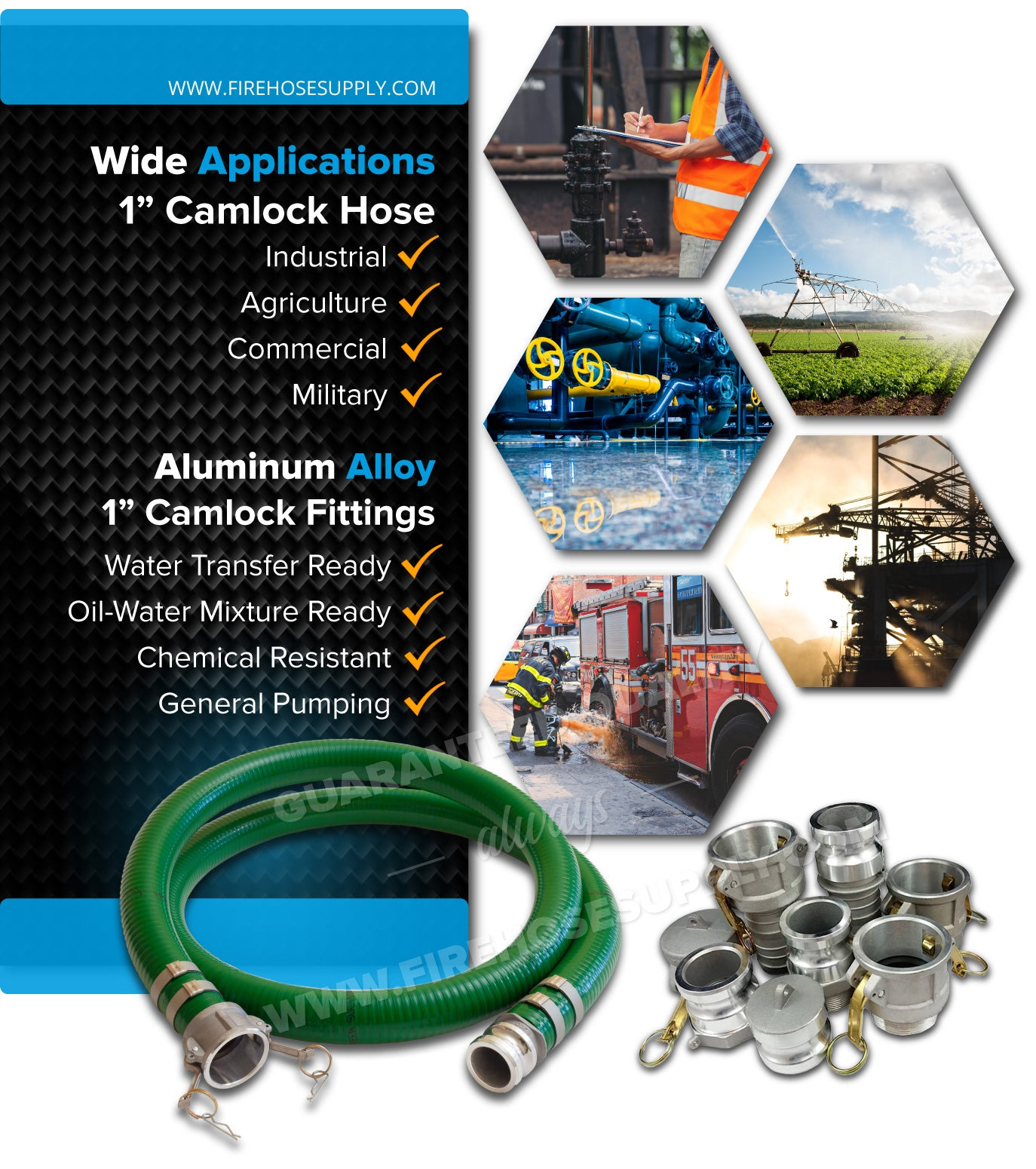 1 Inch Camlock Green Suction Hose Wide Applications