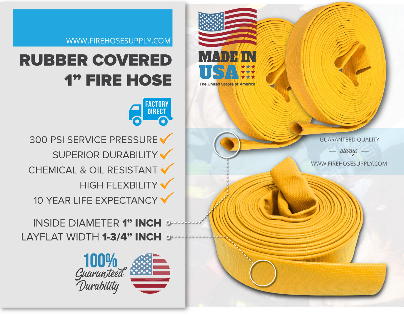 1 Inch Rubber Fire Hose Material Yellow No Fittings 300 PSI