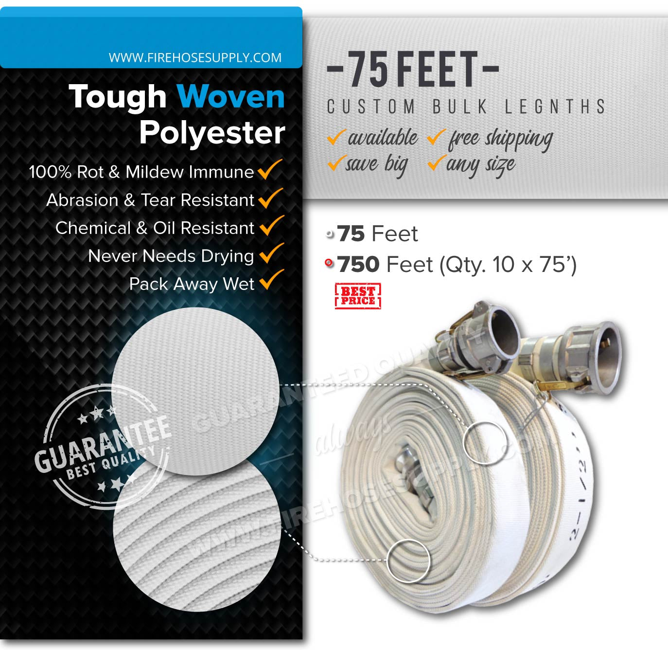 1 inch 75 feet camlock quick connect hose polyester bulk wholesale 750 feet