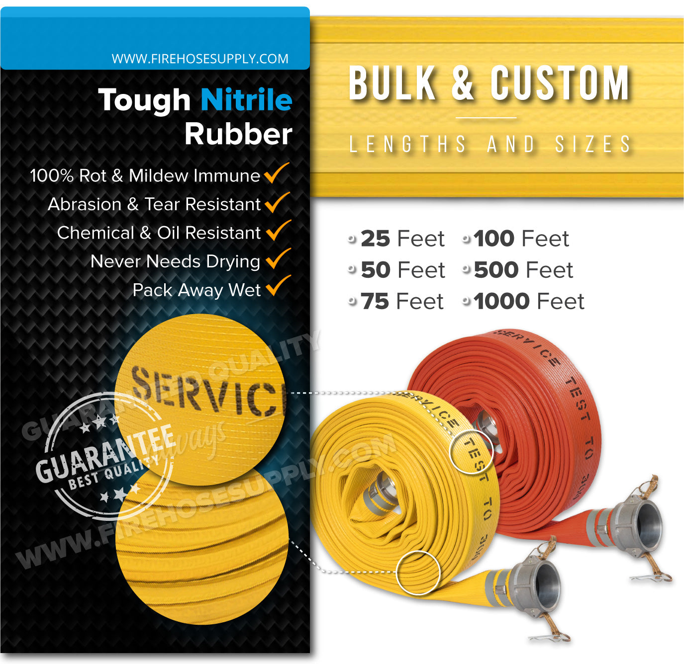 2.5 Inch Camlock Quick Connect Fire Hose Rubber Materials