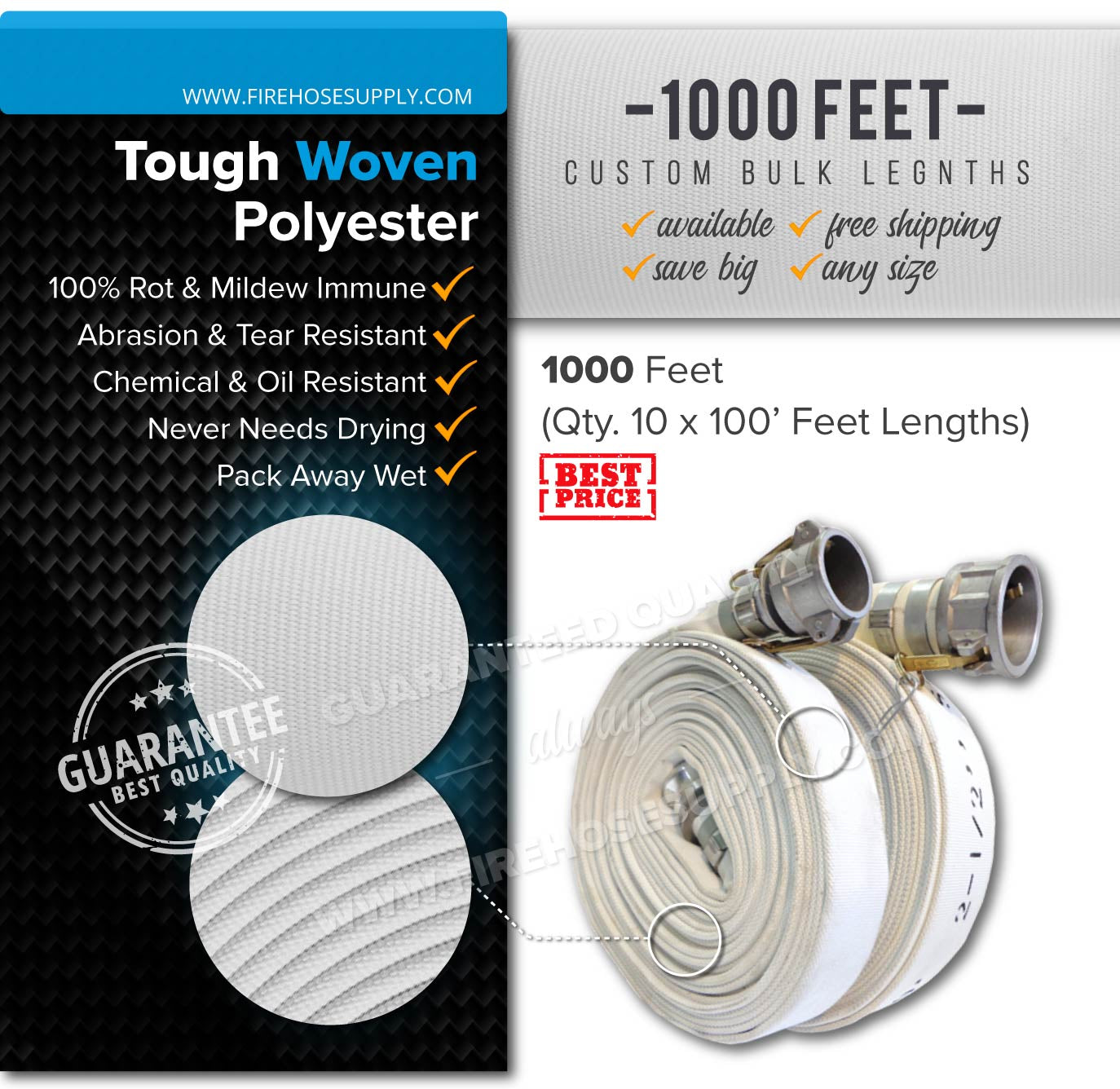 2 inch 1000 feet camlock discharge quick connect hose polyester bulk wholesale (10 x 100)