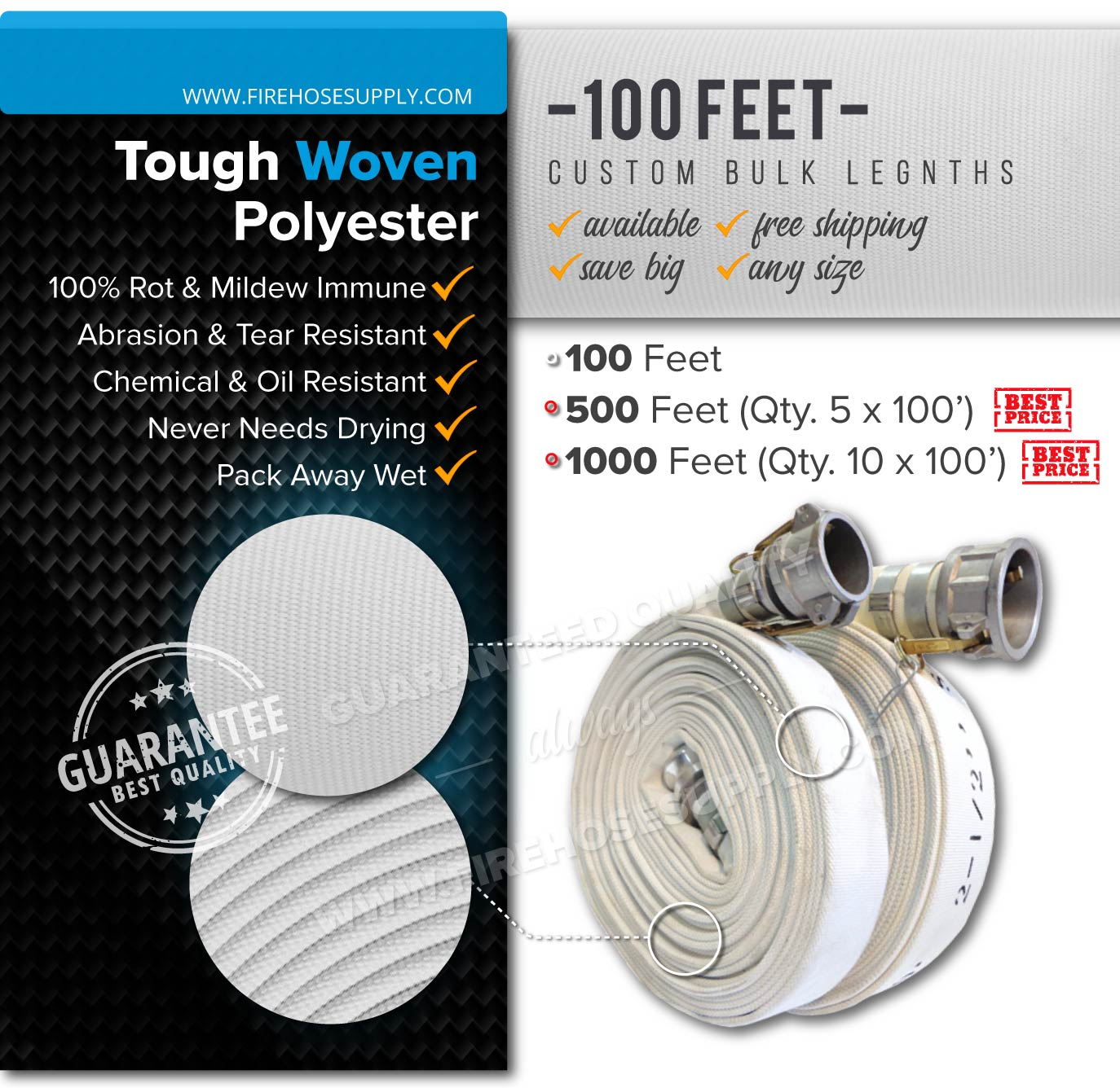 2.5 inch 100 feet camlock discharge quick connect hose polyester bulk wholesale 500-1000 feet