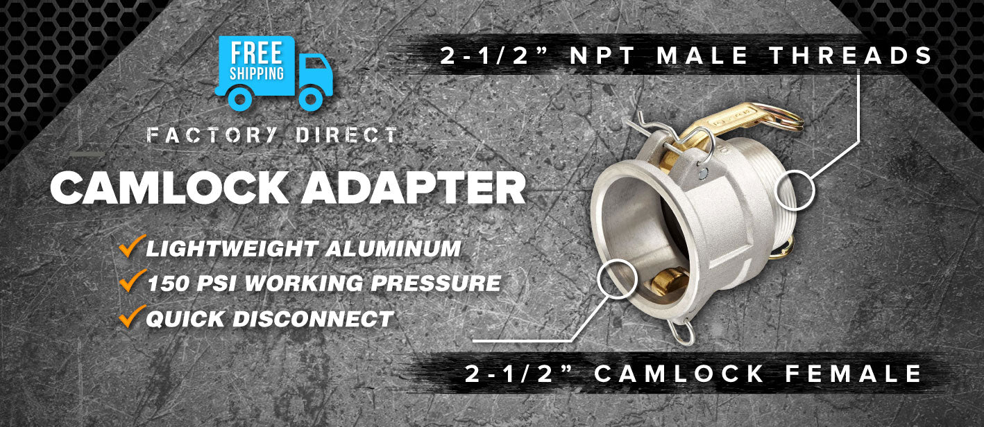 2.5 inch camlock female to 2.5 inch npt male adapter