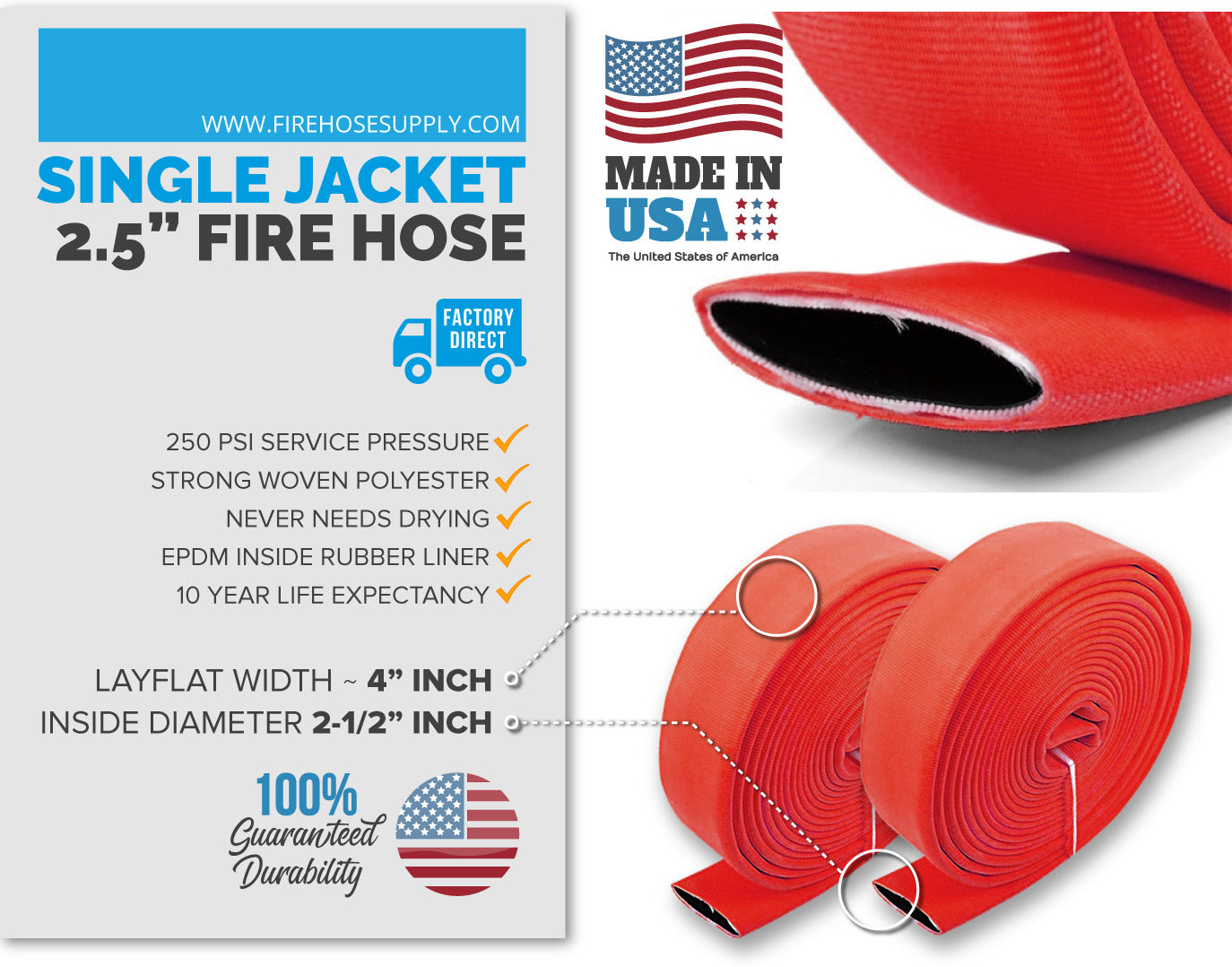 2.5 inch fire hose material red no fittings