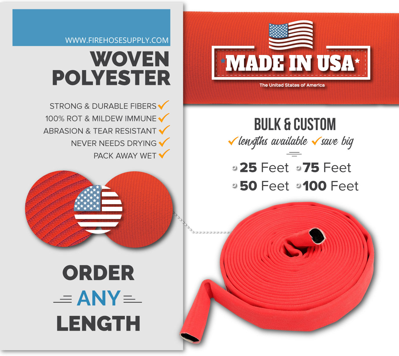 2.5 inch uncoupled fire hose only without connectors red double layer polyester material