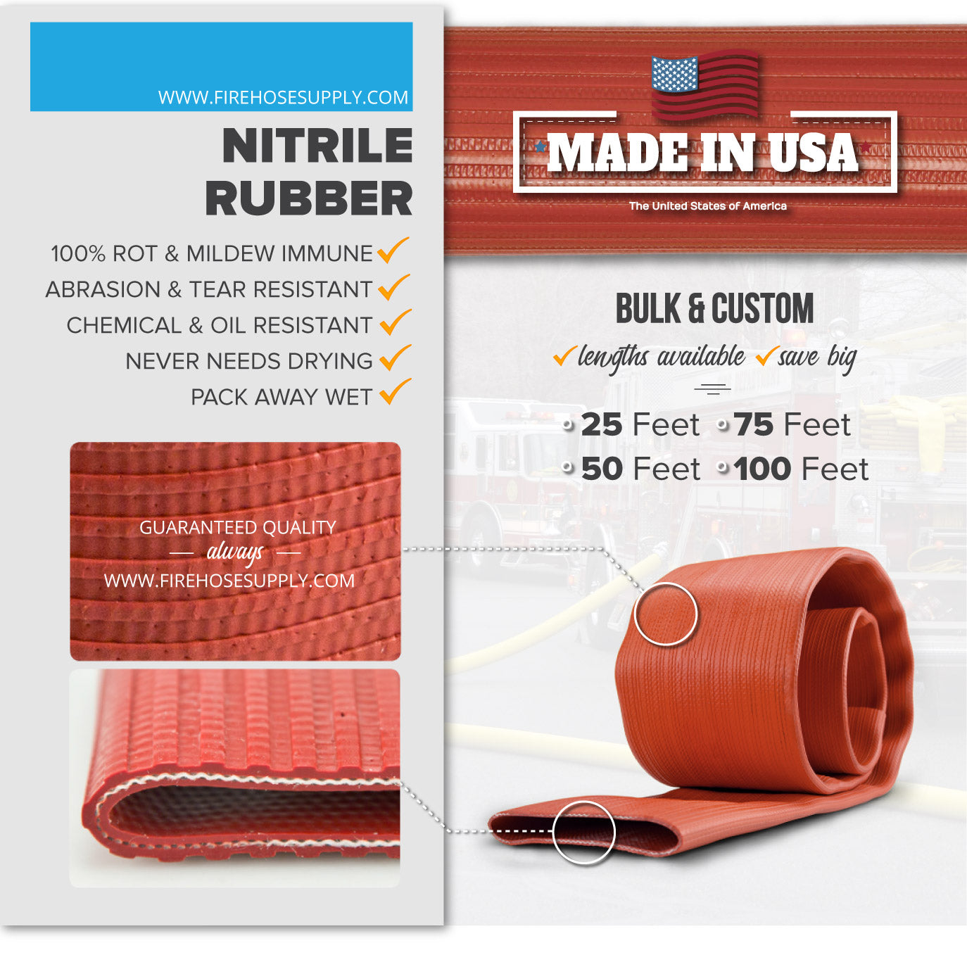 2 Inch Uncoupled Rubber Fire Hose Only No Connectors Red Nitrile 300 PSI