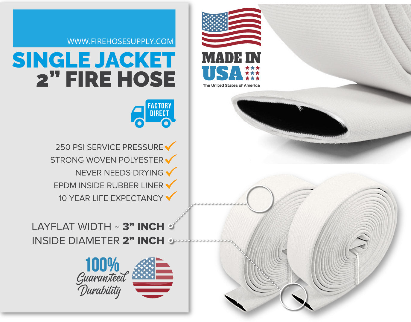 2 inch fire hose material white no fittings