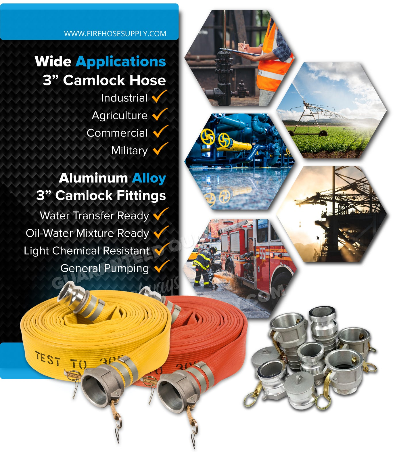 3 Inch Rubber Camlock Fire Hose For Industrial Applications